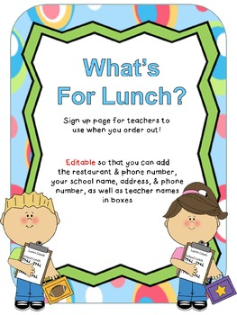 What's for Lunch? (Teacher lunch order form) Freebie!