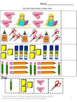 Back to School Cut & Paste Activities Kindergarten Special Education Preschool