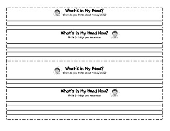 What's in My Head? What's in My Head Now?  Reflection Sheet