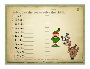 What's in That Bag, Santa? Math puzzle activities, multiplication