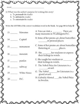 What's in Washington D.C.? Test and Vocabulary Page