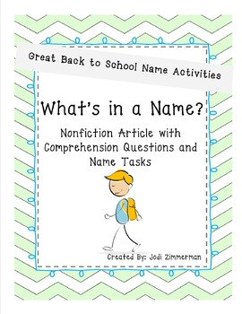 Back to School Fun! What's in a Name?