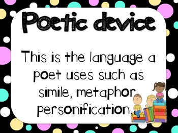 Whats in a Poem? Language features of Poetry charts.