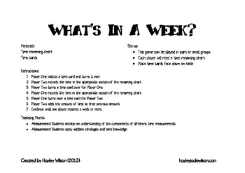 What's in a Week? - Addition to Time Game