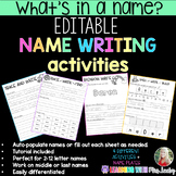 EDITABLE Name Tracers, Practice Activities, and Name Plate