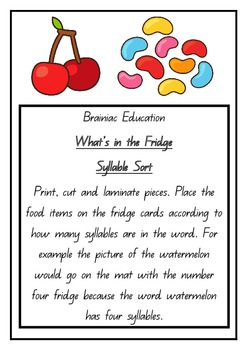 What's in the Fridge Syllable Sort