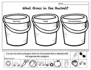 """""""What's in your bucket?"""" Beach Theme Category Packet"""