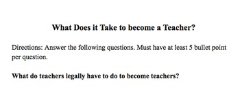 What's it Take to Be a Teacher Questions