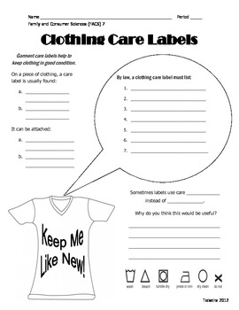 Guided Notes - What's on a Garment Care Label? [Corresponds w/ Powerpoint]