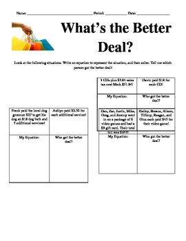 Better Deal Worksheets & Teaching Resources | Teachers Pay ...
