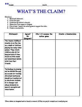 What's the Claim? Scaffolded Argument Opinion Writing Claims & Counterclaims