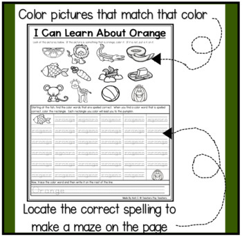 Practicing Color Recognition ~  Pictures and words to go with each color....