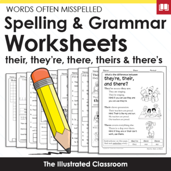 Words Often Misspelled - They're, Their, and There Worksheets