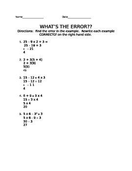What's the Error?!? PEMDAS Style