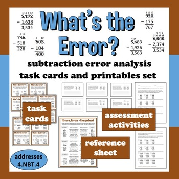 What's the Error? subtraction with regrouping task cards + printables set