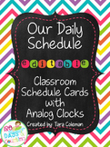 Schedule Cards with Analog Clocks~Editable (chalkboard/chevron)