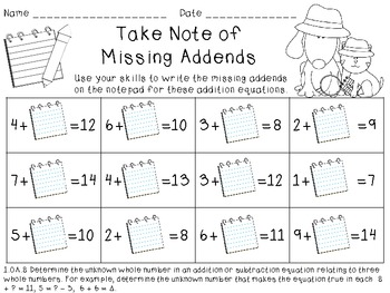 What's the Missing Number?  Common Core Missing Numbers