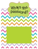 What's the Password? Sight Word/Vocabulary Password Sign - Chevron