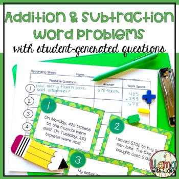 What's the Question? Addition and Subtraction Story Problem Task Cards
