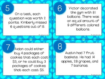 What's the Question? Multiplication and Division Story Problem Task Cards