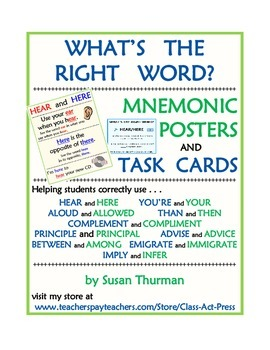 What's the Right Word? Vocabulary Fun and Spelling Fun (Posters, Task cards, $6)