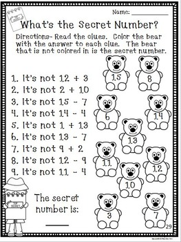 What's the Secret Number? Level 1 No Prep