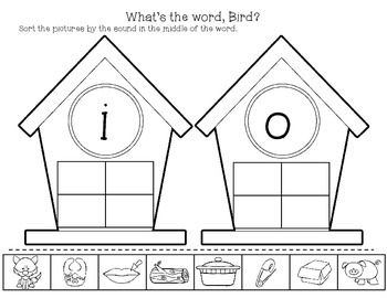 What's the Word, Bird? Medial Vowel Sort Literacy Center & Worksheets