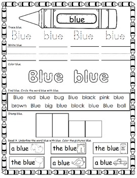 What's the color?          A Color Word Activity