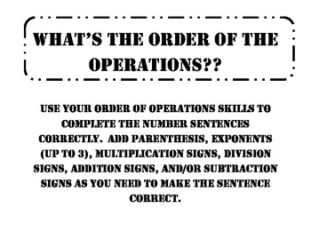 What's the order of the operations?