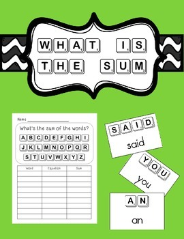 What's the sum of the word?