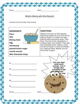 What's wrong with this recipe? Fun Math Activity