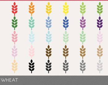 Wheat Digital Clipart, Wheat Graphics, Wheat PNG, Rainbow Wheat Digital Files