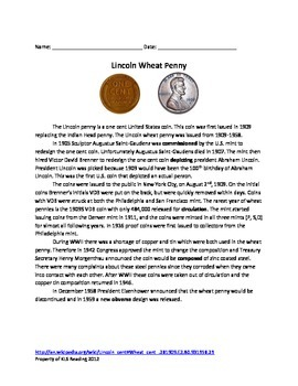 Wheat Penny - US coin - history review article questions vocabulary word search
