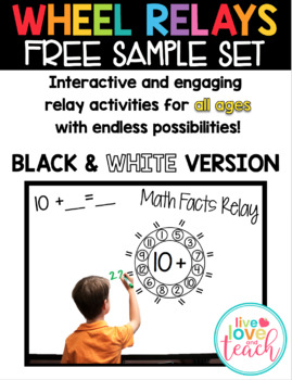 Wheel Relays - Black and White Math FREE SAMPLE SET