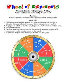 Wheel of Exponents: A Game to Practice Multiplying and Dividing by Powers of 10