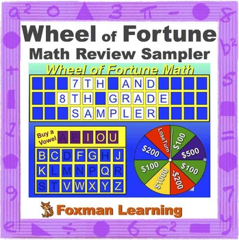 Wheel of Fortune Middle School Math Vocab Review for SmartBoard FREE Sampler