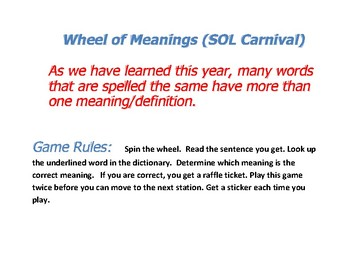 Wheel of (Multiple) Meanings Game