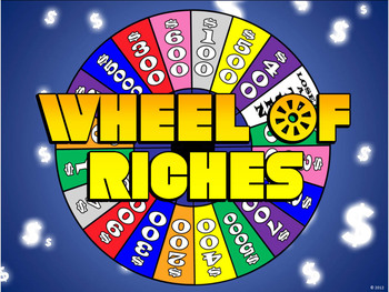 wheel of riches powerpoint template - plays just like wheel of fortune, Powerpoint templates