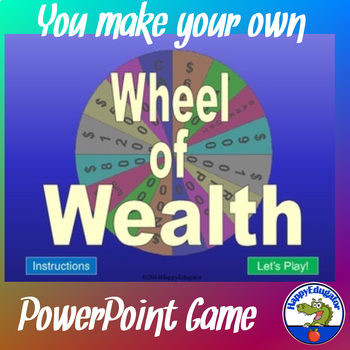 Wheel of Wealth PowerPoint Game Template - Plays Like Wheel of Fortune