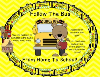 Wheels On The Bus Game Fun! Bus Theme Editable Game Board, Cards, Spinner & More