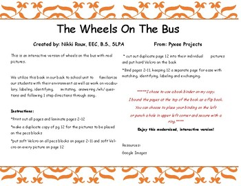 Adapted Modern Interactive Wheels on the Bus Speech and Language Book