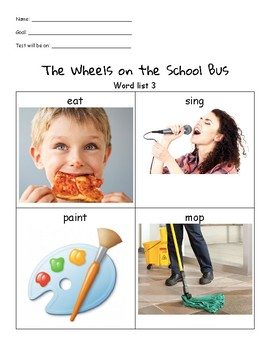 Wheels on the School Bus Unit List 3 Packet