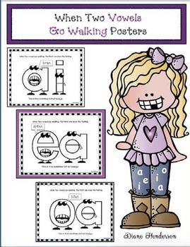 """When 2 Vowels Go Walking the 1st One Does the Talking"" Poster Packet"