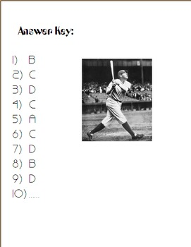 When Babe Ruth Hit His Last Home Run- Poem and Quiz