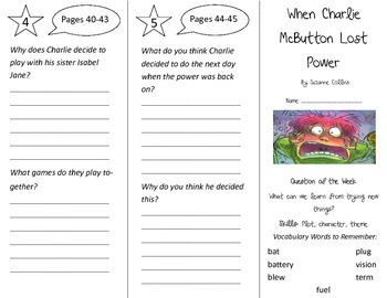 When Charlie McButton Lost Power Trifold - Reading Street 3rd Gr Unit 1 Week 1