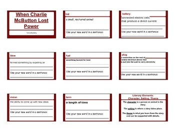 When Charlie McButton Lost Power Vocabulary Handout