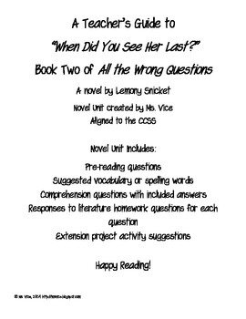 When Did You See Her Last? Teacher Guide