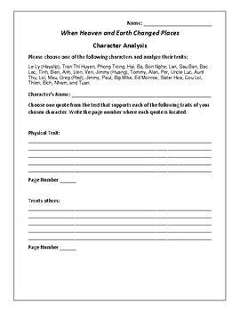 When Heaven and Earth Changed Places - Character Analysis Activity - Hayslip