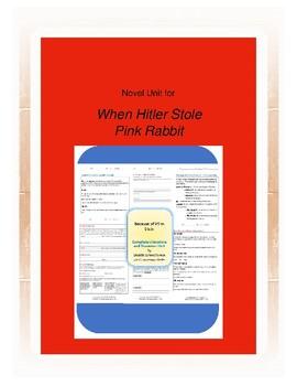 When Hitler Stole Pink Rabbit Complete Literature and Grammar Unit