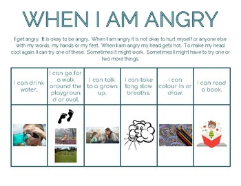 When I Am Angry Strategies Chart